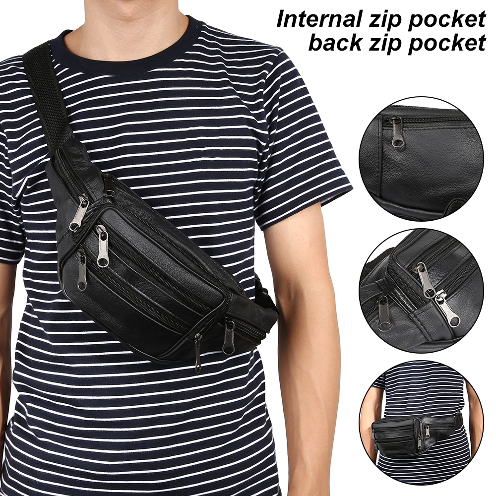 Brief Designer Genuine Leather Men Waist Bag Multi-function Belt Bag Male Soft Surface Fanny Packs Bag Travel Belt Wallets