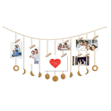 2020 Metal Round Piece Sun Moon Shape Hanging Decoration Photo Kids Living Room Wall Hanging Decoration With Chains 10pcs set wooden mini round photo frame hanging crafts diy handmade with ropes home decoration ornament