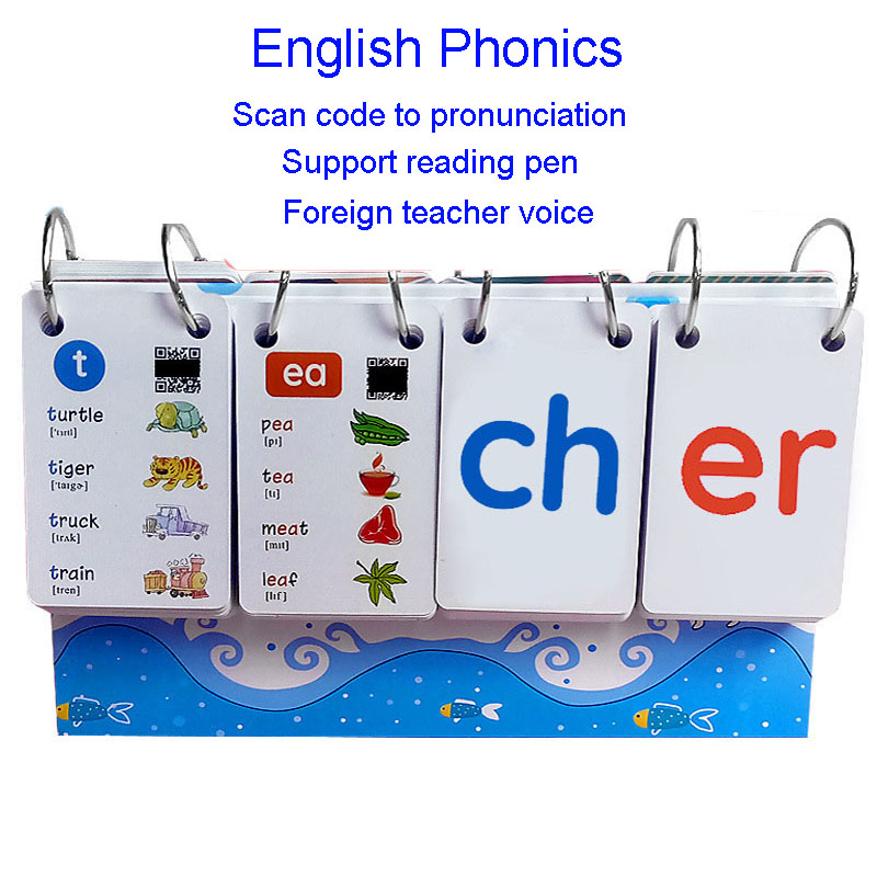 252PCS English Phonics Word Books Cards FlashCards Calendar Children Kids Montessori Learning Educational Toys Games Vipkid