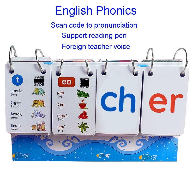 252PCS English Phonics Word Books Cards FlashCards Calendar Children Kids Montessori Learning Educational Toys Games Vipkid