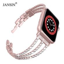 JANSIN New Women Diamond Watch Band for Apple Watch 38mm 42mm 40mm 44mm iWatch Series 6 SE 5 4 3 Stainless Steel Sport Bracelet