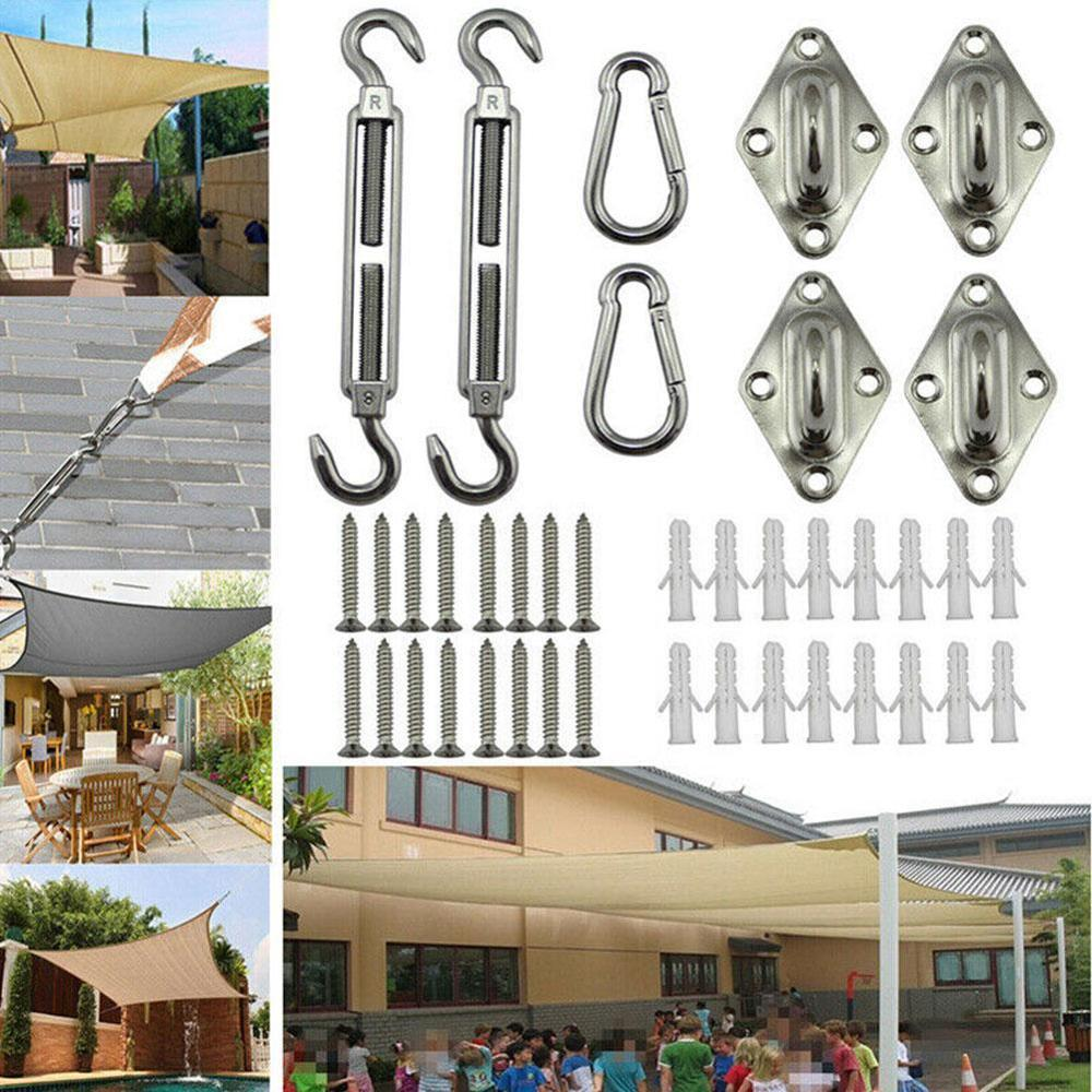 Quadrangle Sun Shade Sail Stainless Steel Hardware Installation Kit Canvas Cap Tent Boat Marine Silver Snap Fastener Sockets