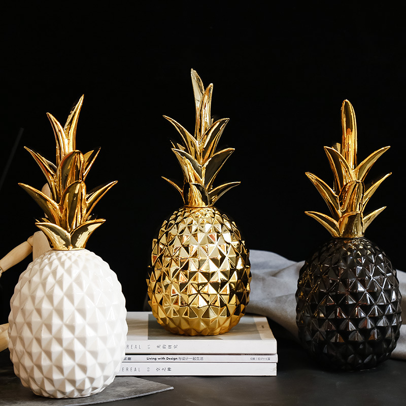 Ceramics Pineapple Shaped Figurine Gold Black Pineapple Crafts Miniatures Gift For Office Home Decoration Accessories Decor