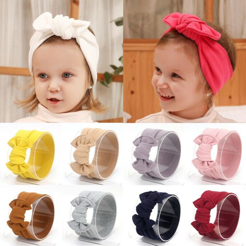 Plain Bow Style Hair Band Cute Children Girls Bowknot Headband Turban Children Hairband Headwear Head Wrap Hair Accessories