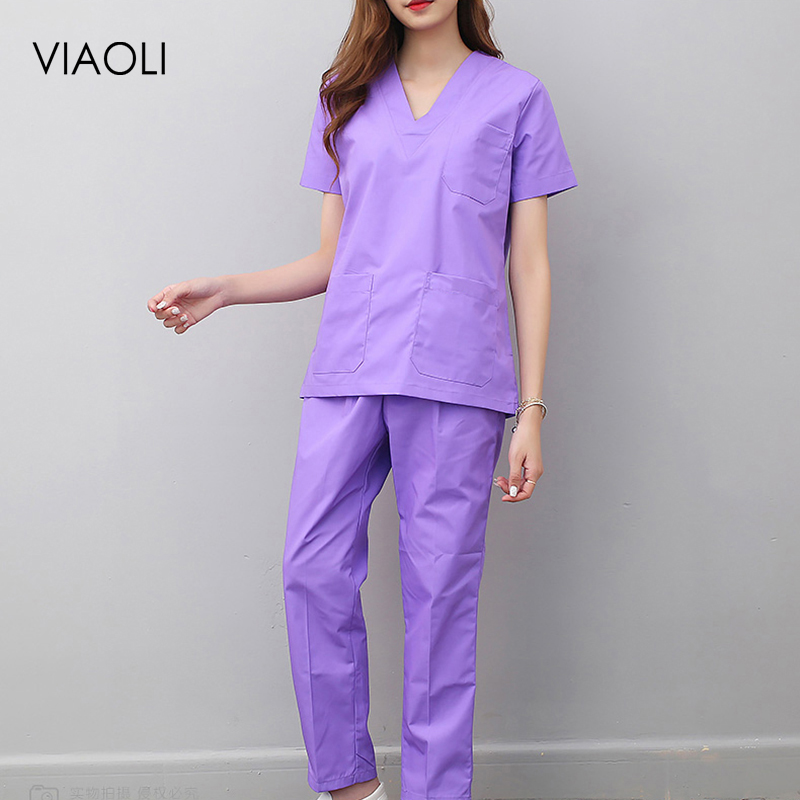 Viaoli New Women And Men Medical Uniforms Nursing Scrubs Clothes Short Sleeve Coat Doctor Clothing  Brush Hand Clothing V-collar