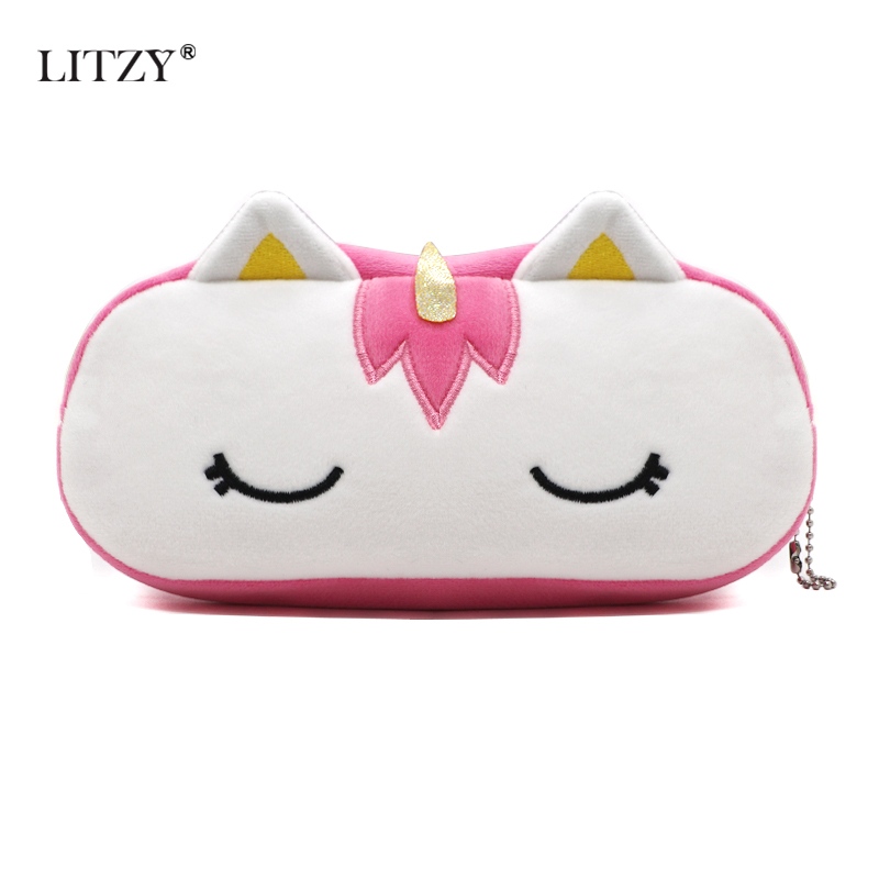 Kawaii Plush Pencil Case Unicorn Pencil Bag For Boy Girl School Cute Zipper PencilCase Office Supplies Stationery Children Gift