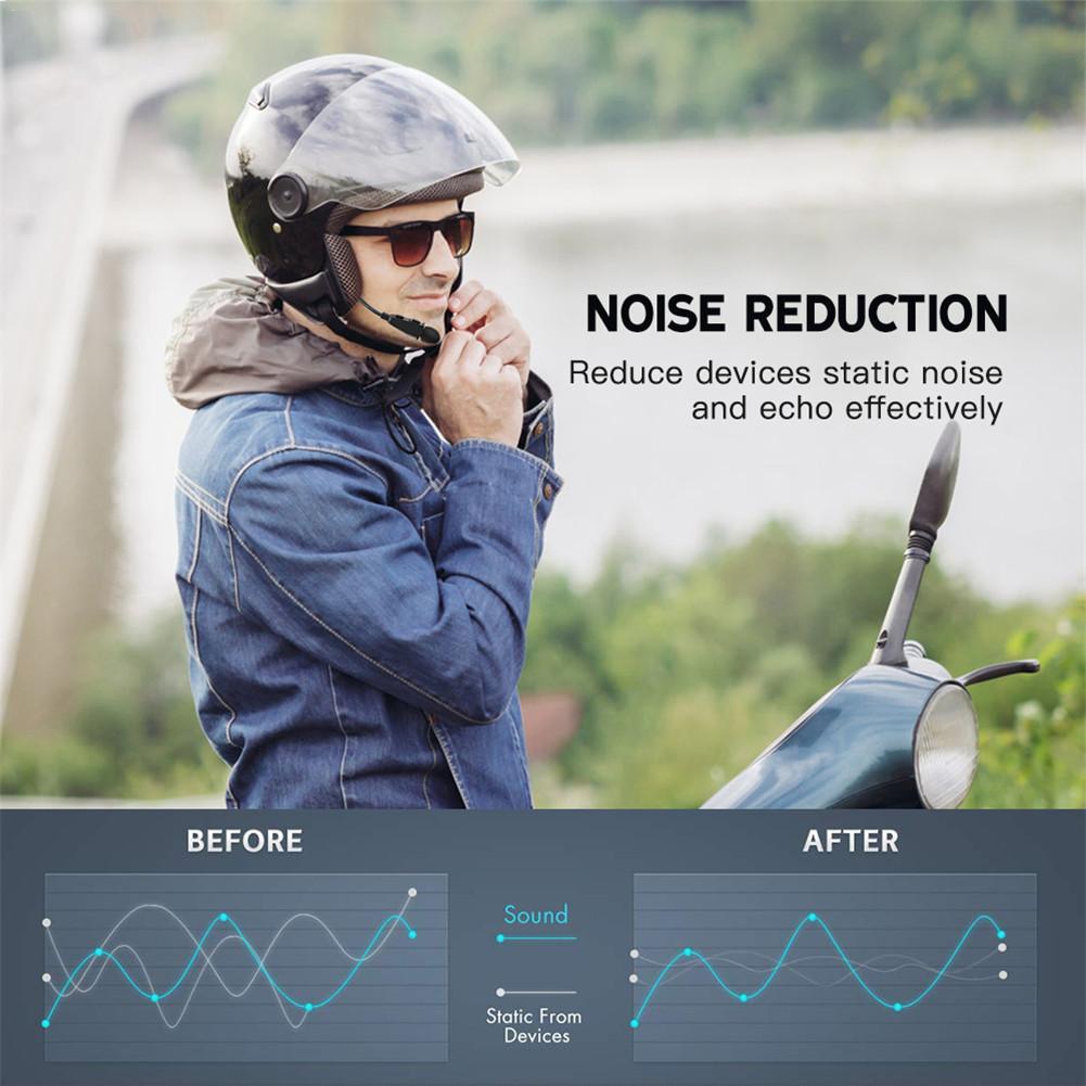 Motorcycle Full-duplex Helmet Headphone AUX Voice Input Helmet Noise-canceling Microphone Bluetooth Headset For 2 Riders 300m