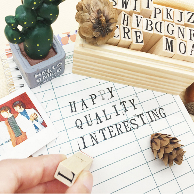 26pcs/set New Arrival  Wooden Stamp Alphabet Digital Letters Stamp Set DIY Gift