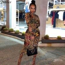 Nibber Vintage Leopard Pattern Multicolor Midi Dress Women Autumn Bodycon Ruffle Mesh High Streetwear Sexy See Through Clubwear