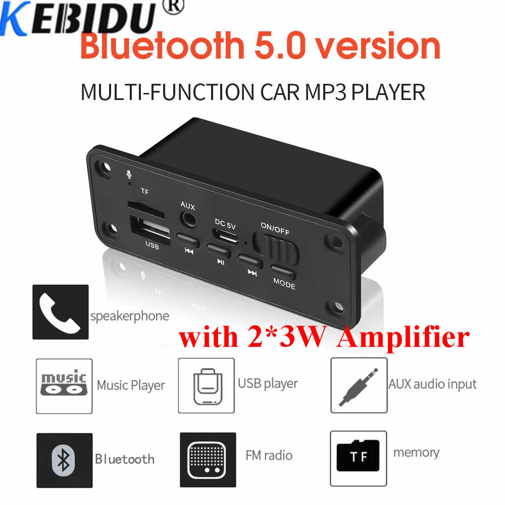 Kebidu 2*3W Amplificatore DC 5V MP3 WMA Modulo Senza Fili di Bluetooth 5.0 Scheda di Decodifica Audio USB FM TF di Registrazione Radio ingresso AUX Per Auto