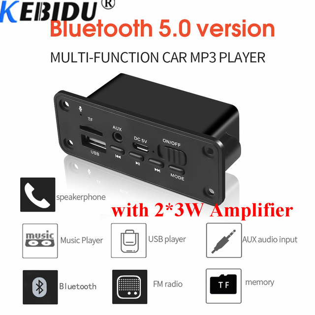 Kebidu 2*3W Amplifier DC 5V MP3 WMA Wireless Bluetooth 5.0 Decoder Board Audio Module USB FM TF Record Radio AUX input For Car
