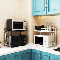 Telescopic Kitchen Shelf Microwave Oven Oven Shelf Floor standing Household Two Story Rice Cooker Storage Shelves