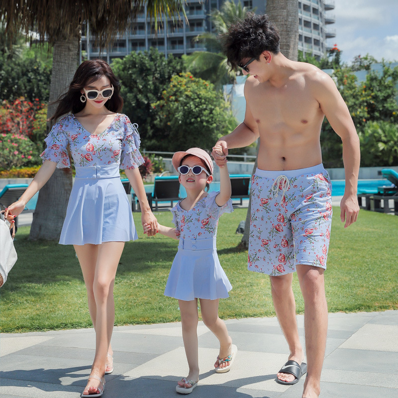 New Style Korean-style KID'S Swimwear Mother & Daughter Parent And Child One-piece Short Sleeve Sun-resistant Quick-Dry Cute Sex