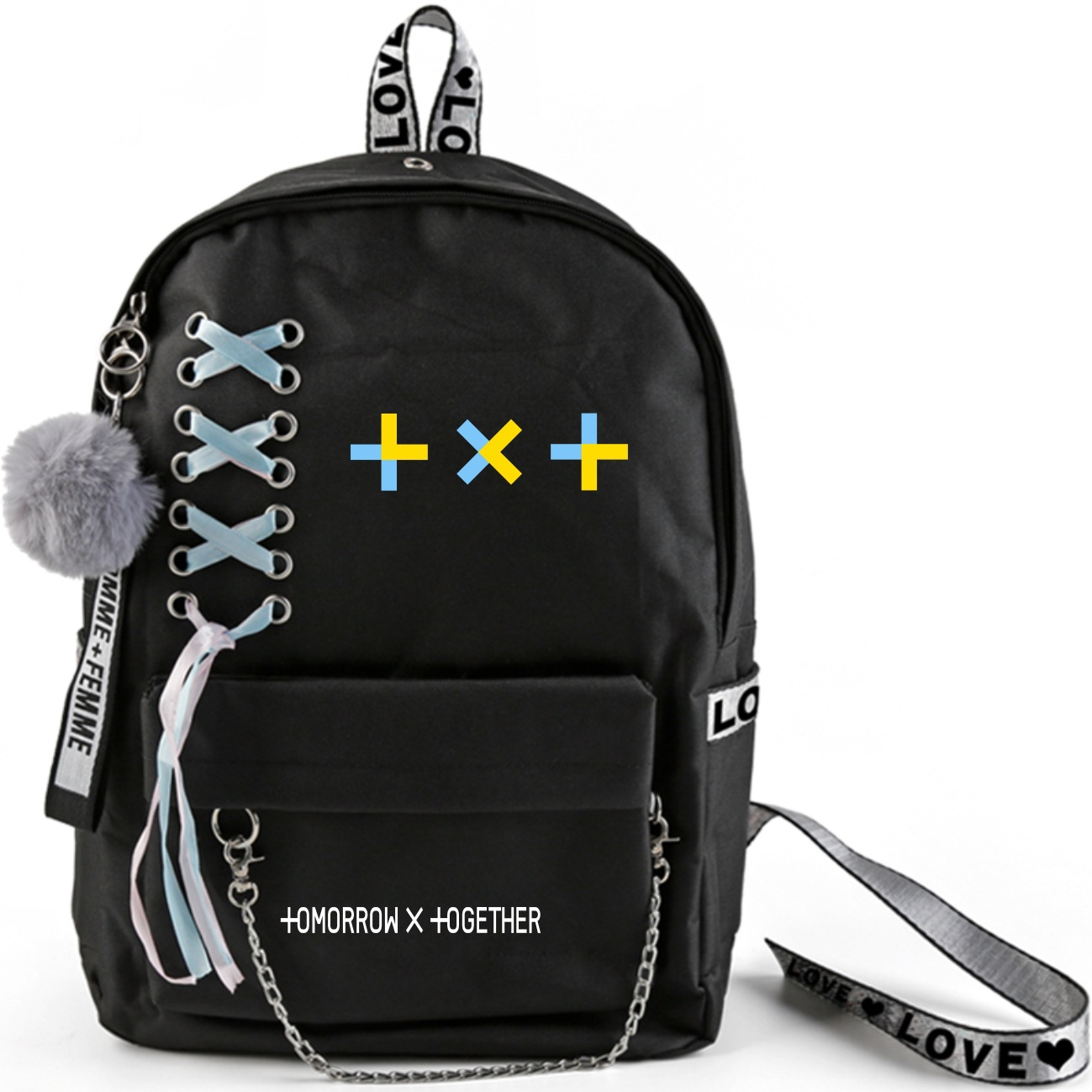 Kpop TXT Backpack Large Capacity School Bag With Crossed Ribbon Plush Ball Pendant Tomorrow X Together Travel Bag Fan Collection