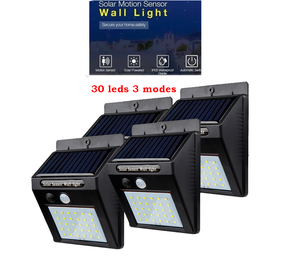2/4PCS Outdoor Led Solar Light 30 Leds Outdoor Motion Sensor Solar Lamp Waterproof Security Lights For Garden Wall Yard 500 LM
