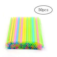 50PCS Drinking Plastic PP Straws Colorful Tea Milk Drinks Straws Juice Sucker Disposable Party Bar Wedding Accessory(China)