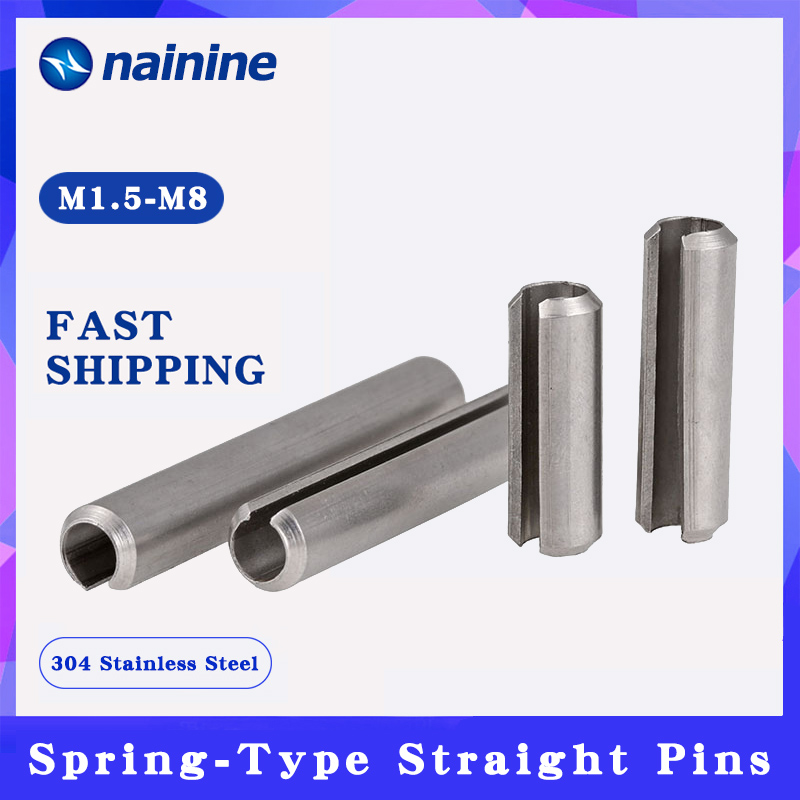 10/20Pcs M1.5-M12 GB879 Spring-Type Straight Pins 304 Stainless Steel Spring Elastic Cylindrical Cotter Pin Dowel HW202