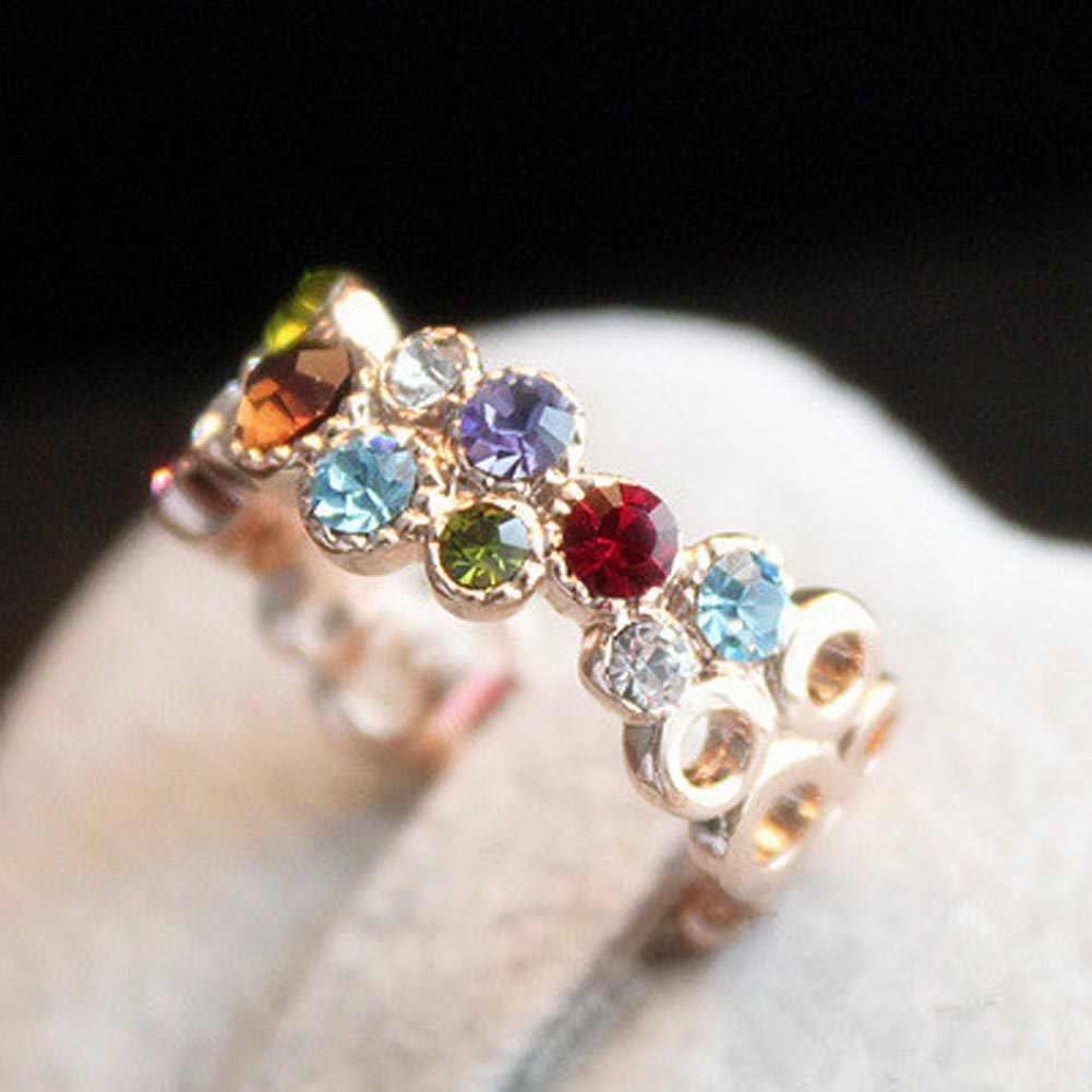 การออกแบบที่ไม่ซ้ำกัน Rose Gold สีแหวน Rhinestone สำหรับงานแต่งงานหญิง Cubic Zircon Bijouterie Hollow แหวนดอกไม้สำหรับผู้หญิง