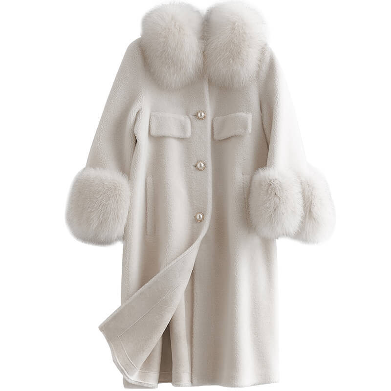 Fur Real Coat Female Fox Fur Collar Sheep Shearling Fur Jackets Winter Jacket Women 100% Wool Coat Chaqueta Mujer My3838
