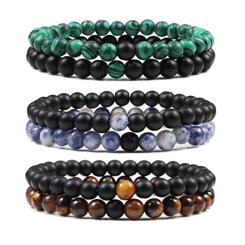Hot 2pcs/Set Tiger Eye Black Lava Natural Stone Beaded Bracelets Couples Distance Bracelet Energy Elastic Rope Malachite Jewelry(China)