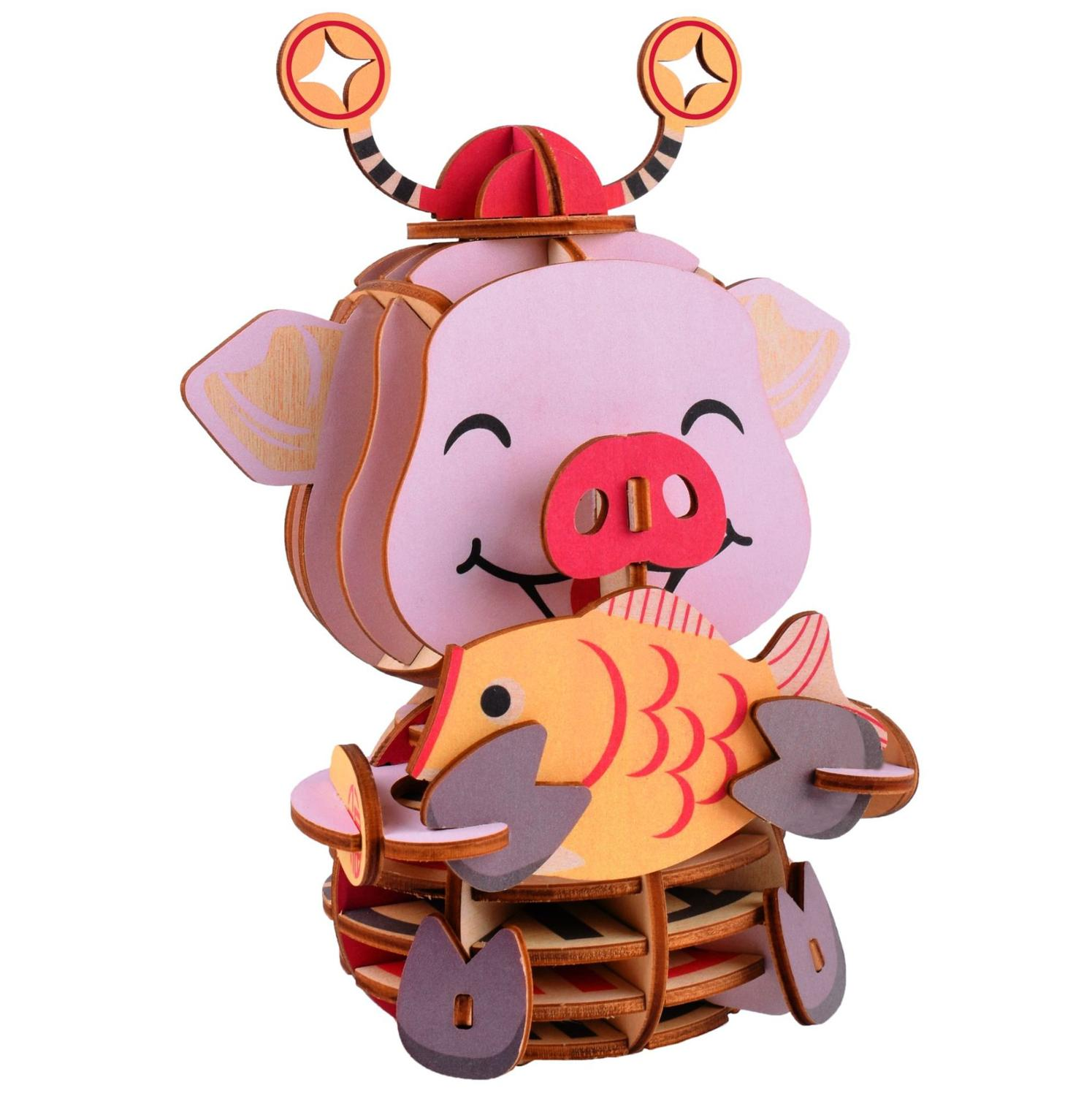 Lucky Pig DIY 3D Wooden Puzzle Woodcraft Assembly Kit Cutting Wood Toys For Christmas Gift 3131