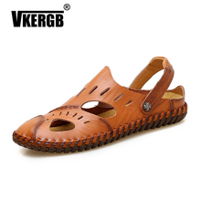 VKERGB Hot Sale New Fashion Summer Leisure Men Casual Sandals Dual - use Breathable ShoesHigh Quality Leather The Big