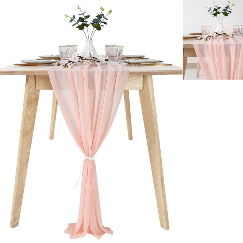 Romantic Sheer Table Runner Chiffon Fabric Overlay Wedding Beautiful Wedding Dusty Pink Chiffon Table Runner 30x305cm