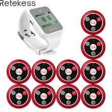 Retekess 999CH 1pc TD108 Watch Receiver + 10pcs Call Button Transmitter Wireless Pager Restaurant Waiter Calling System 433MHz wirelss button calling system nurse call number buzzer watch pager 1pc transmitter 5 pcs call button receiver waterproof