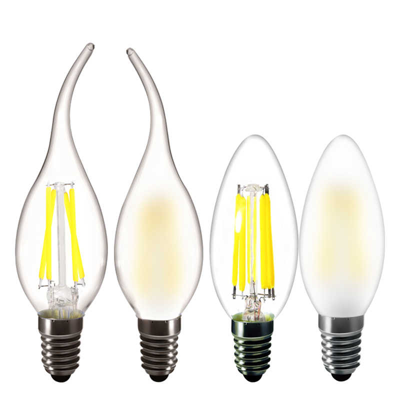 LED Bulb E14 C35 2W 4W 6W Frosted Candle Flame Lamp 220V Warm white Brown vintage crystal chandelier bulb