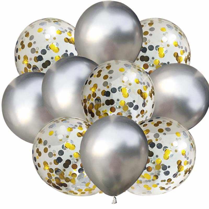 10Pcs Metallic Due-Confetti di colore Palloncini Decorazione Di Compleanno Parti Baloons Aria Palle per il Compleanno Rifornimenti Del Partito di Nozze Favori XN