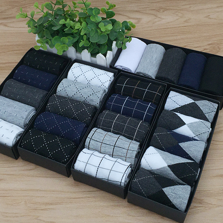 Hirigin Men Socks  5 Pairs Of Socks Gift Box 4 Pattern Style Crew Mens Bussiness Underwear Cotton Middle Stocking Winter Autumn