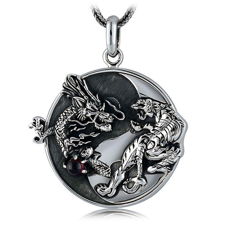 S925 argent fait à la main Dragon tigre pendentif collier 100% 925 Sterling Fengshui Taichi Yinyang pendentif collier bonne chance amulette