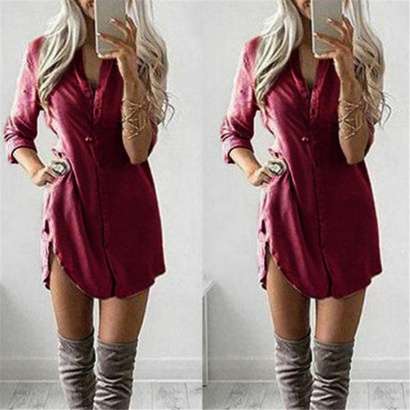 2019 Fashion Women's Dresses Lady Summer Long Sleeve Dresses Ladies Loose Blouse Casual Tops Size Costume Solid Color Dress New