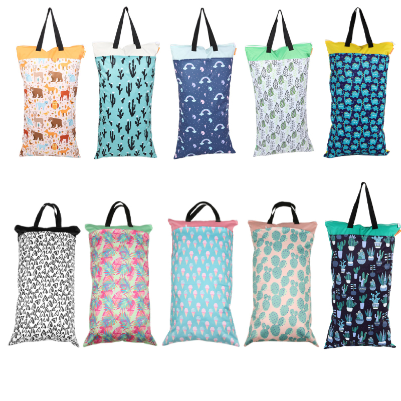 1Pc Baby Diaper Bag Multifunction Baby Waterproof Double Zipper Diaper Bag Washable Dry Wet Nappy Pouch 40*70cm