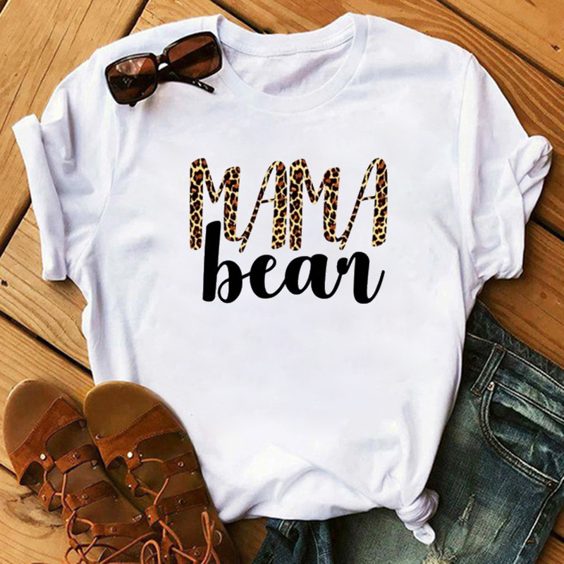 Maycaur New Mama Bear Leopard Print Women Tshirts Fashion Casual Short Sleeves T Shirt For Lady Top Tee Hipster Funny Female Top