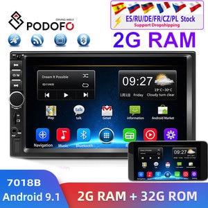 Image 1 - Podofo 2din araba radyo Android GPS Navi Wifi araba multimedya oynatıcı evrensel için otomatik Stereo Volkswagen Nissan Hyundai Kia toyota