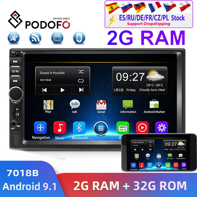 Podofo 2din araba radyo Android GPS Navi Wifi araba multimedya oynatıcı evrensel için otomatik Stereo Volkswagen Nissan Hyundai Kia toyota