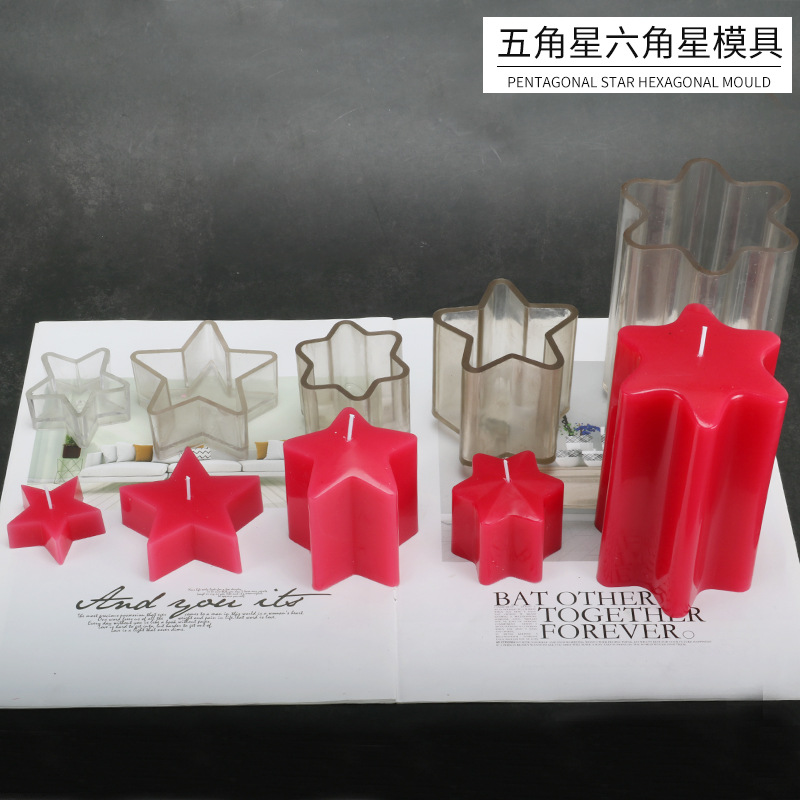 Pentagram Star Shaped Plastic Clear Candle Mold For Candle Making Acrylic Transparent Mold Aromatherapy Cylindrical Candle Mold