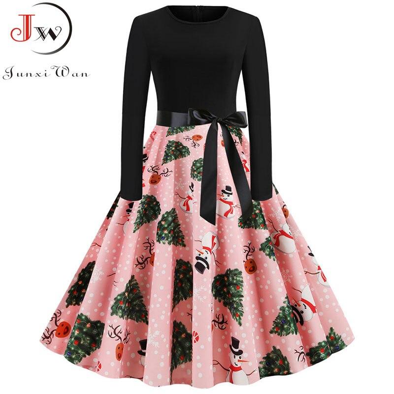 Plus Size Elegant Printed Christmas Dress Pink Women Vintage Winter Casual Midi O Neck Party Dresses Long Sleeve Robe Vestidos