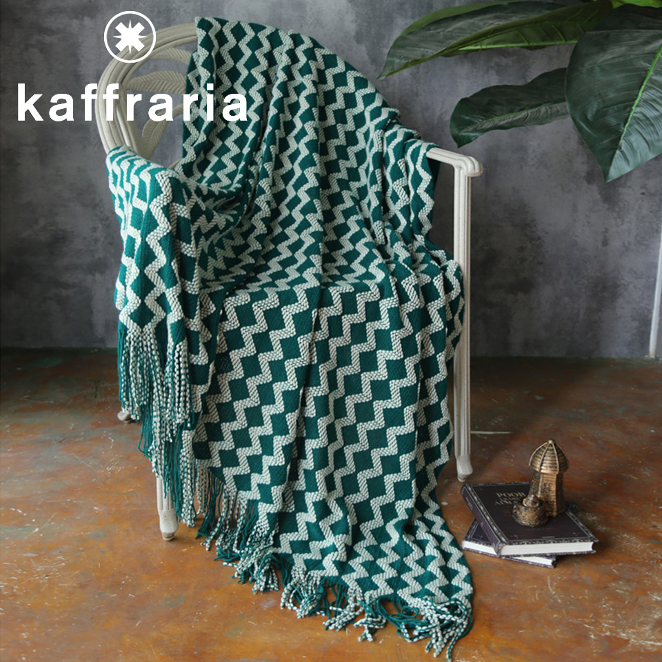 Nordic Style Stripe Sofa Bed Knitted Blanket With Tassel Air Condition Knit Throw Blanket Cover Warm Blanket For Home Travel Car