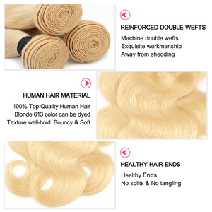 Image 3 - Gabrielle 613 30 inch bundles with frontal Brazilian Body Wave Blonde Bundles with Closure Transparent Lace Remy Human Hair
