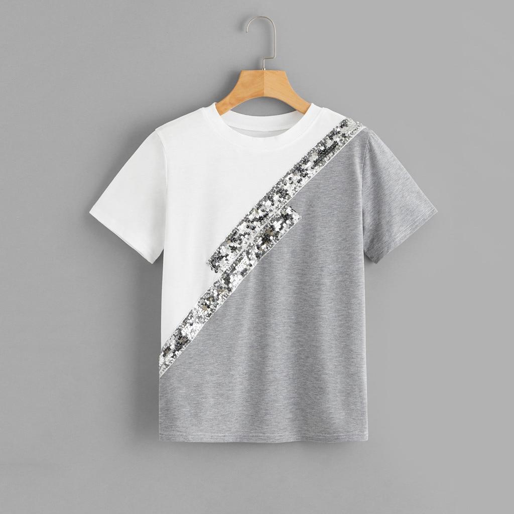 Playera de lentejuelas para mujer, Camiseta holgada de manga corta con retazos y cuello redondo, camiseta femenina, camisetas de moda para mujer|Camisetas|   - AliExpress