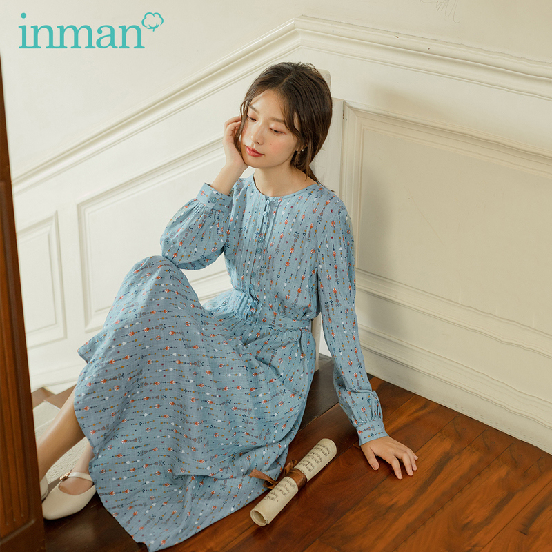 INMAN 2020 Autumn New Arrival Bow-tied Lace-up Floral Round Neck Prairie Chic Long Sleeve Dress