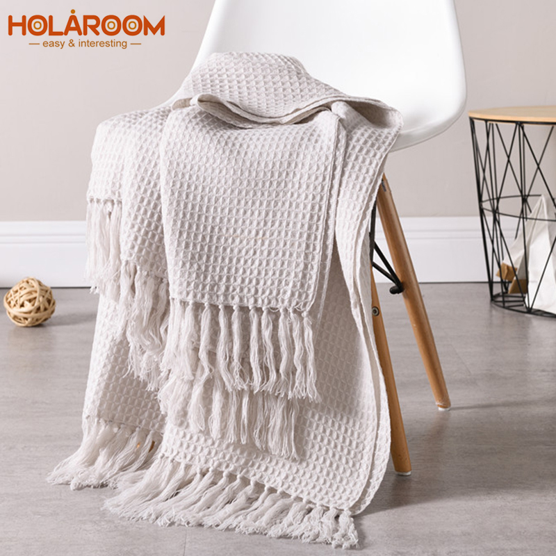 Holaroom Blanket for Spring/Autumn Knitted Blanket Embossing Coffee Fringe Nordic Style Sofa Bedroom Decorative Blanket Tassels image