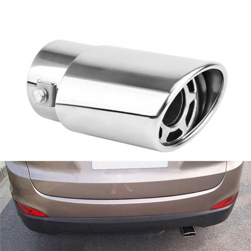 1 ペアクロームトリム修正された車ライナーパイプステンレス鋼車の排気マフラー先端パイプ排気システム