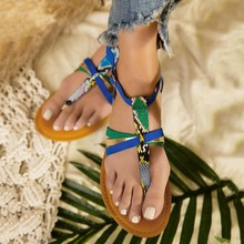 2020 Women Summer sandals Roman Serpentine Buckle Strap Shoes Flat Beach Open Toe Breathable Sandals flat bottom shoes  #35 cheap YOUYEDIAN Basic Flat with Rubber Med (3cm-5cm) Casual Fits true to size take your normal size Cover Heel Shallow Fashion