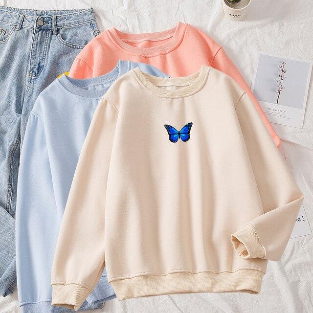 Oversized Sweatshirt Women School Thickening Hot Royal Blue Butterfly Print Round Neck Solid Hoodie Female Aesthetic Sweatshirts 1
