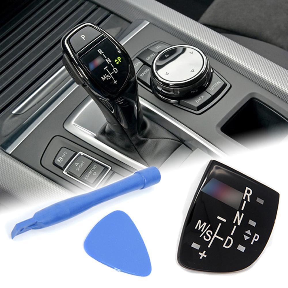 Sprzedaż gałka zmiany biegów samochodu Panel biegów osłona przycisku godło M wydajność naklejka na bmw X1 X3 X5 X6 M3 M5 F01 F10 F30 F35 F15 F16 F18