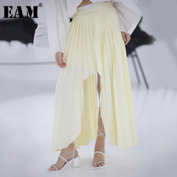 [EAM] High Waist Yellow Asymmetrical Pleated Temperament Half-body Skirt Women Fashion Tide New Spring Autumn 2020 1S116