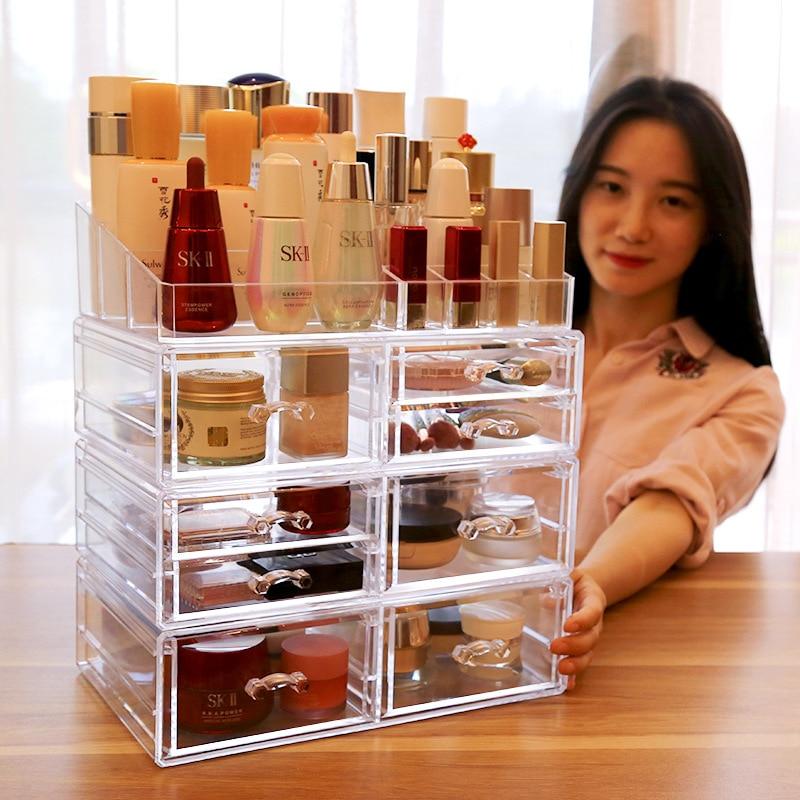 Acrylic Makeup Organizer Jewelry Storage Box Cosmetics Jewelry Display Plastic Box Transparent Drawer Powder Storage Lipstick